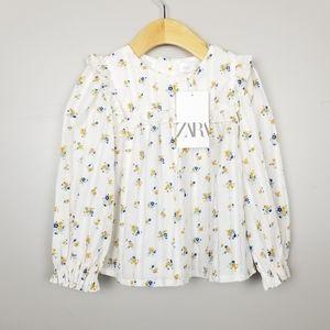 Zara girls floral prairie top, size 4-5 NWT